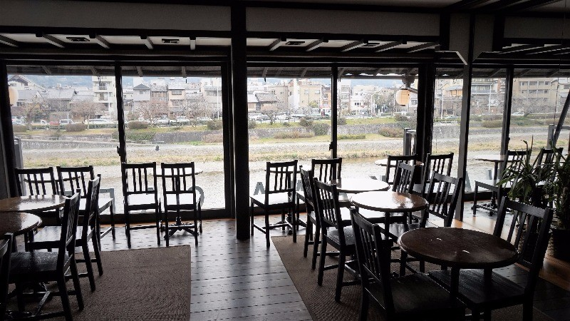 enjoy breakfast by the Kamo River