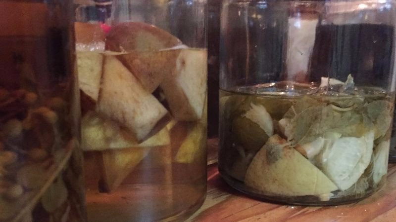 These are the jars of fruit infused alcoholic drinks