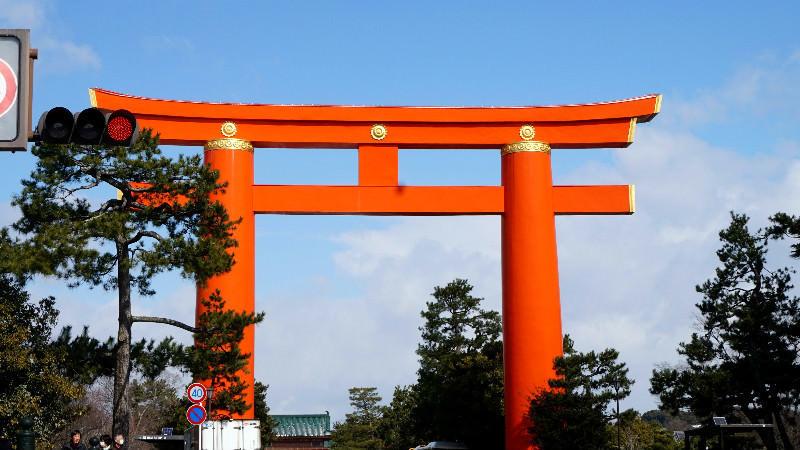 Giant torii gate of Heian Shrine