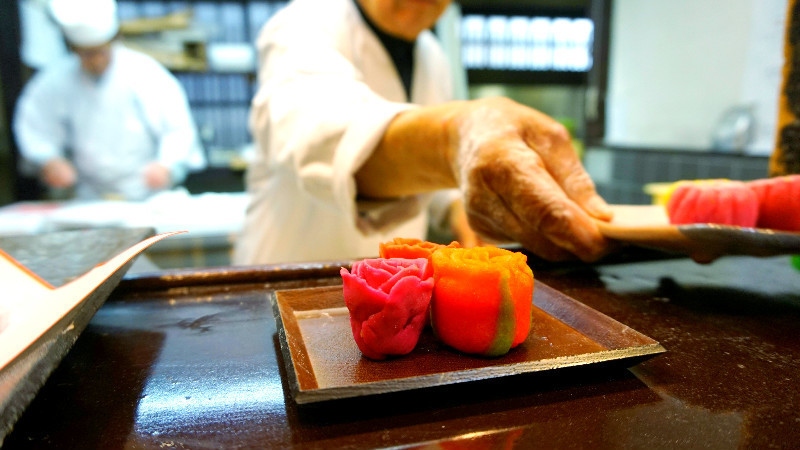 The colorful Japanese sweets