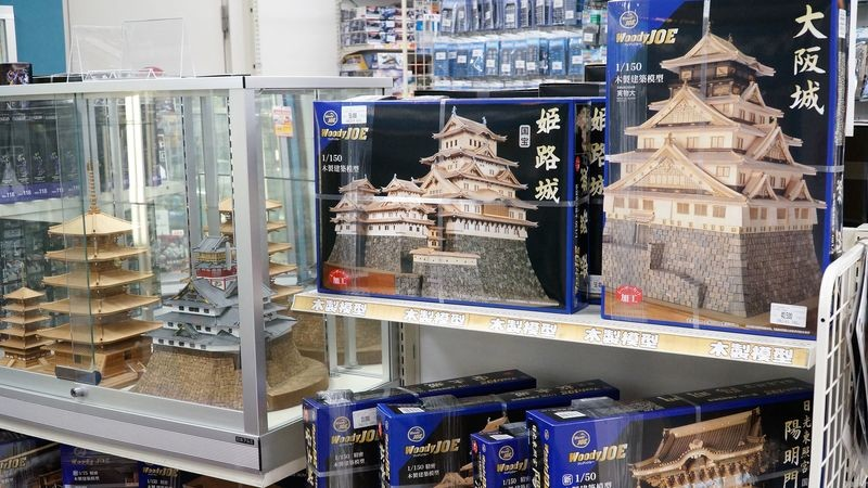 wooden models of Japanese temples and castles