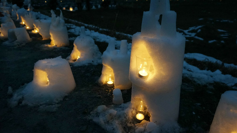Hand made snow lanterns