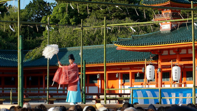 Shinto priest purifies the stage