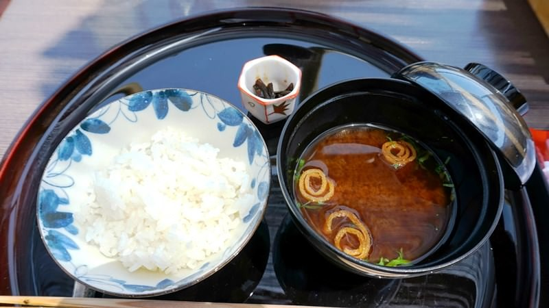 Rice, miso soup and Japanese horseradish boiled in soy sauce