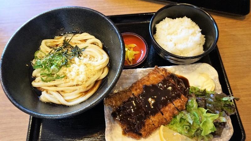 udon noodles with a deep-fried pork cutlet