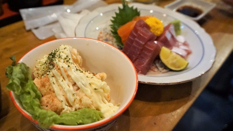 potato salad and sashimi