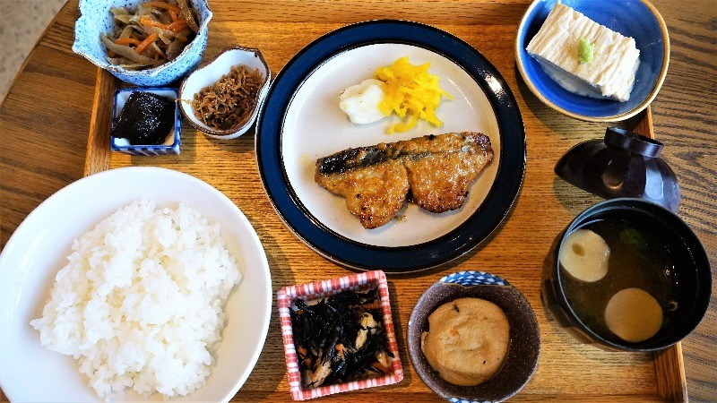 Japanese breakfast with grilled fish
