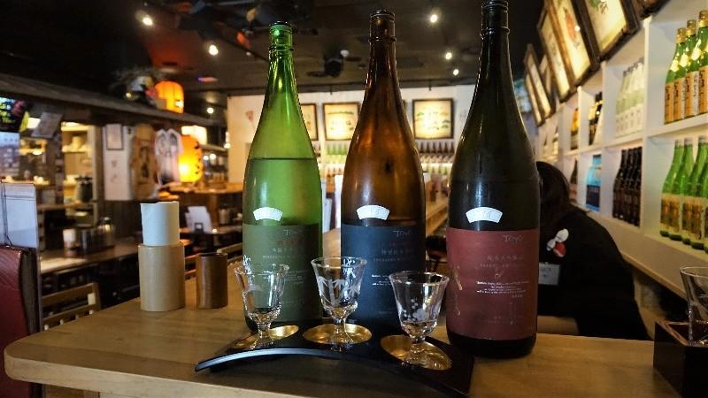 一組3種不同風味的日本酒
