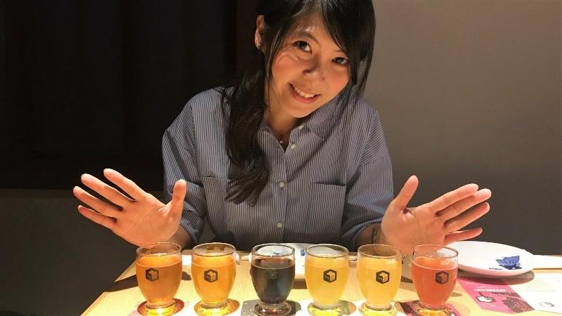 把眼前的6杯啤酒全部乾完了!
