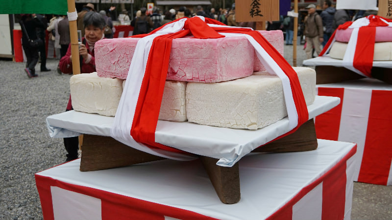 Square huge rice cake