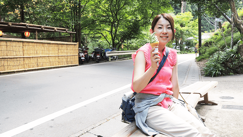 Yoko is satisfied with her green tea ice cream.